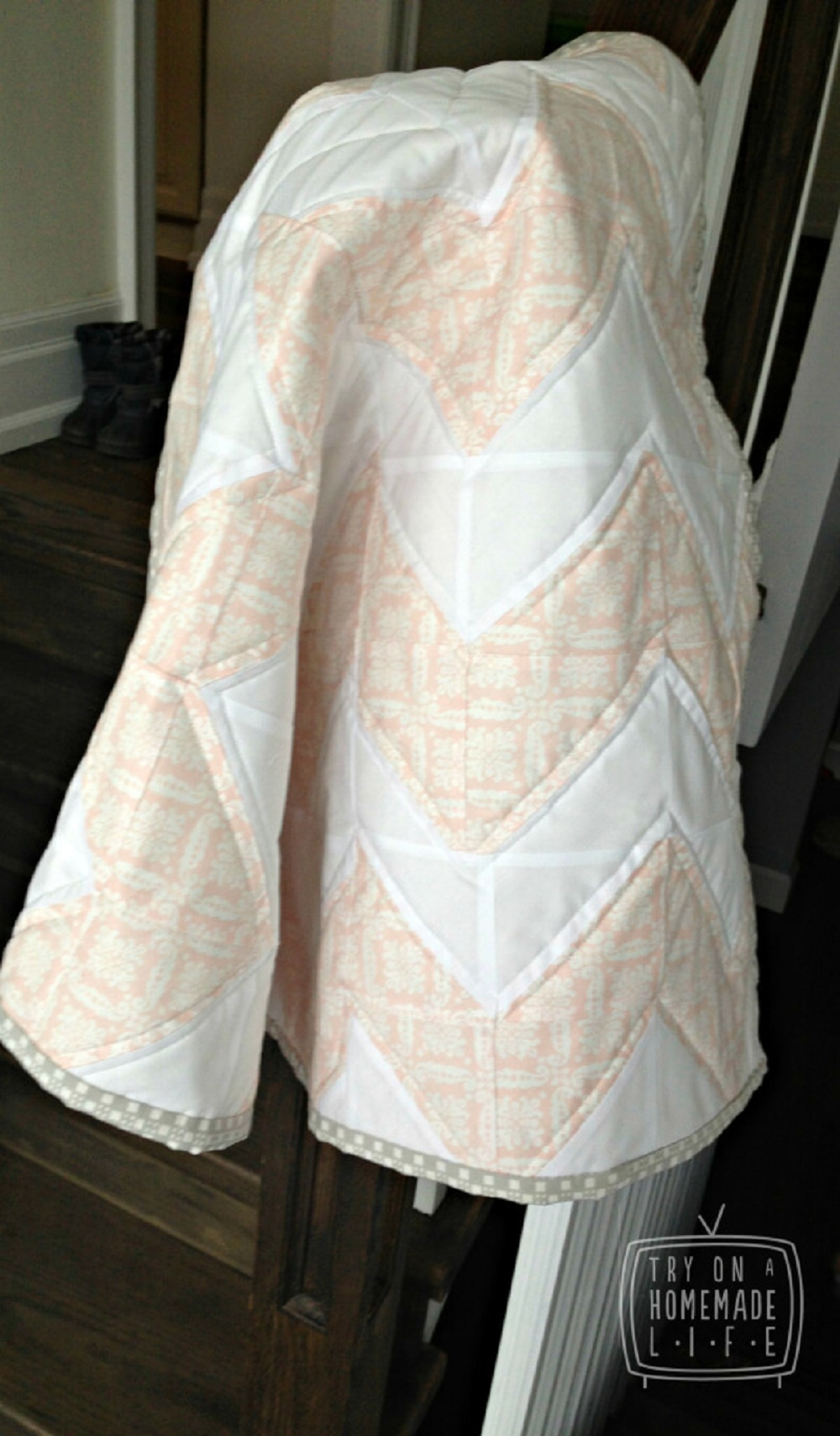 Baby Pink and White Chevron Pattern.