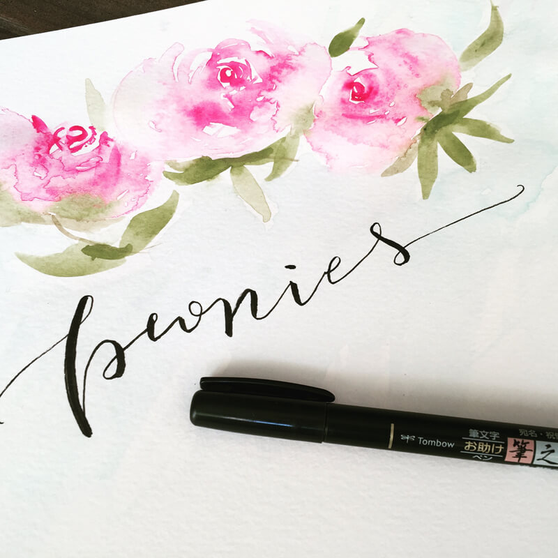 Watercolor Peonies with brush Lettering