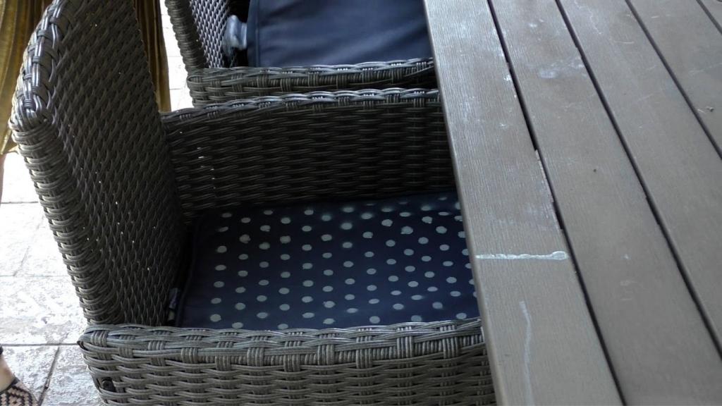 spray painted polka dot cushions